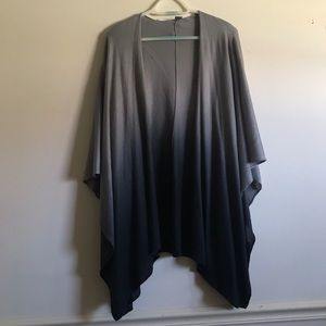 Sweaters - Grey and Navy Ombré Short Sleeve Shawl